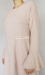Trumpet Jubah (PINKISH BEIGE)  - Material : Gold Dust Cotton (Stretchable with back and front zip and side hidden pockets