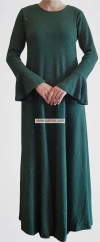 Trumpet Jubah (GREEN)  - Material : Gold Dust Cotton (Stretchable with back and front zip and side hidden pockets
