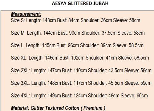 Glittered Jubah measurement